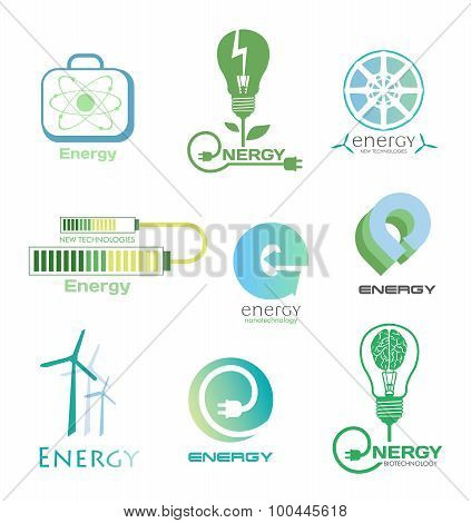 Set energy logos and emblems. Design elements and symbols of power plant, electricity, wind turbine,