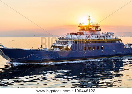 Ferryboat Forebridge With Sunset Light Behind