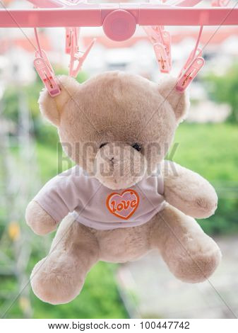 Hanging Teddy Bear Light Brown Dried In The Sun  On Blur Background. The  Teddy Bear Doll With Orang