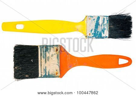 Two Old Used Paint Brushes