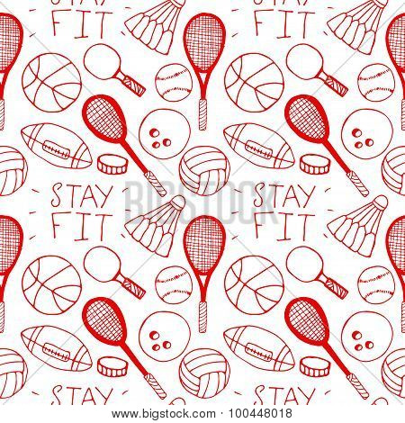 Hand drawn doodle seamless pattern. Sports.