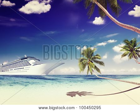 Cruise Ship Summer Beach Palm Tree Concept