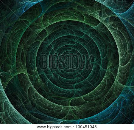 Abstract Green And Blue Whirlpool Fractal Over Black Background