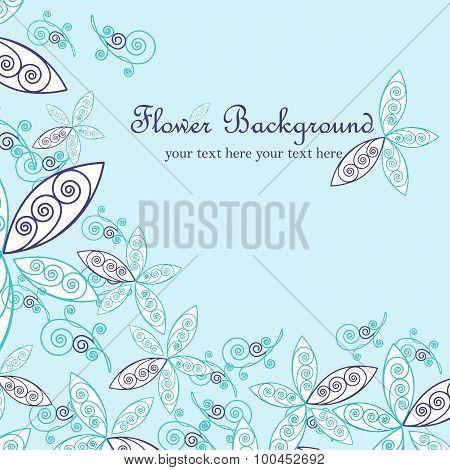 Floral background, greeting card. Vector illustration.