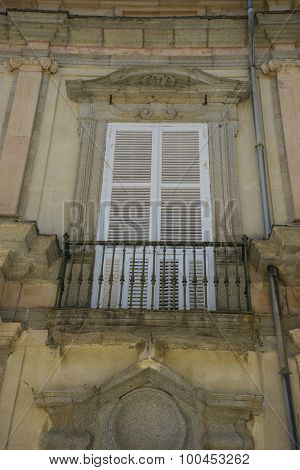 Royal, old windows and classical city of San Ildefonso, Palacio de la Granja in Spain