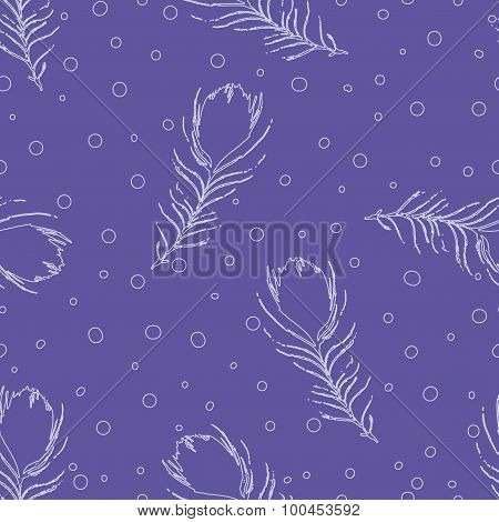 Seamless Abstract Pattern With Peacock Feathers And Dots. Vintage Blue Background. Vector Backdrop.