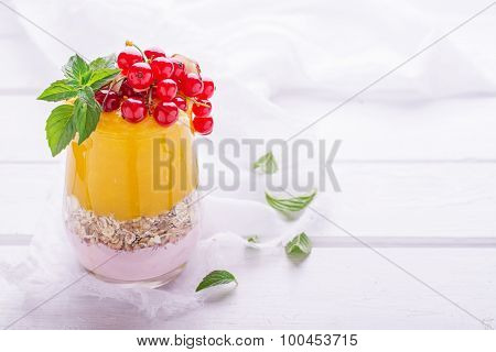 Two layers of a smoothie in glass