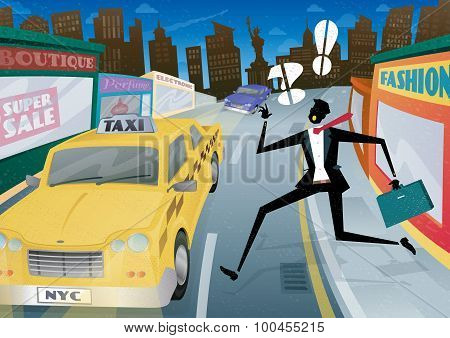Businessman Running For A Taxi In Nyc