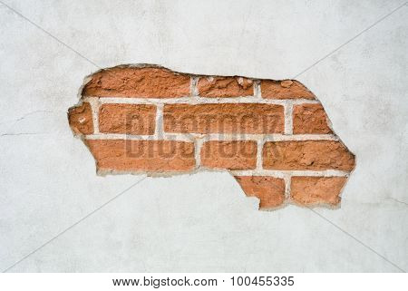 Brick Wall With Cracked Plaster Background
