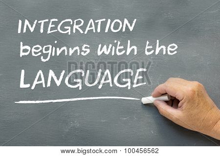 Hand On A Chalkboard With The Message Integration Begins With The Language