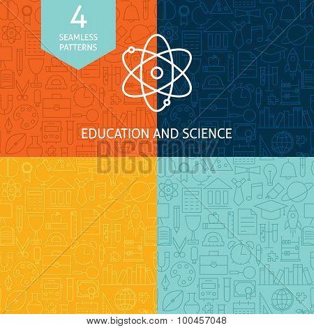 Thin Line Education Science School Patterns Set