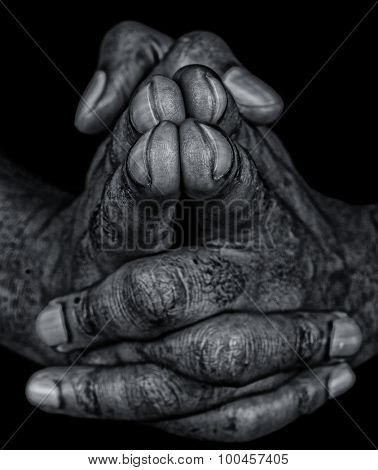 Artistic Closeup Image Of a Soiled workers hands