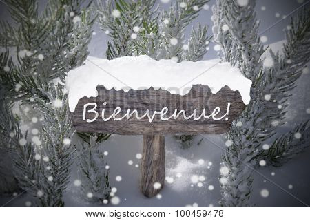 Christmas Sign Snowflakes Fir Tree Bienvenue Means Welcome