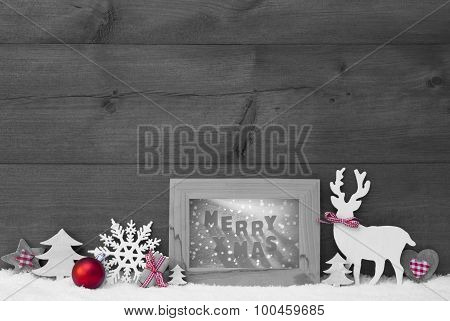 Black White Red Christmas Background Snow Frame Merry Xmas