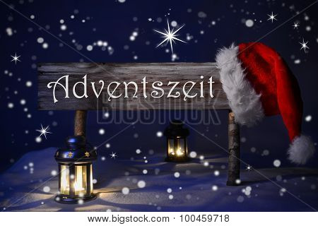 Sign Candlelight Santa Hat Adventszeit Means Christmas Time