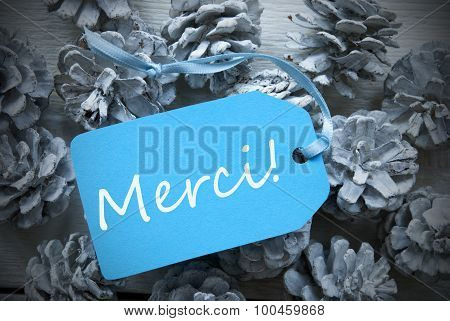 Light Blue Label On Fir Cones Merci Means Thank You