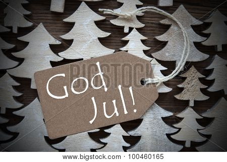 Brown Label With God Jul Means Merry Christmas