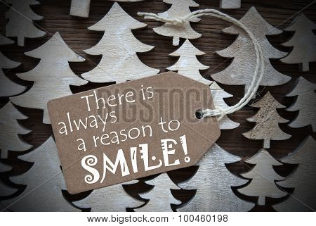 Brown Christmas Label With Always Reason To Smile