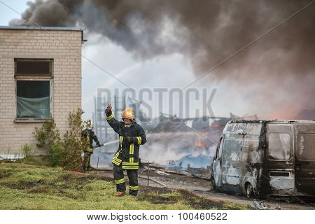 VILNIUS, LITHUANIA - 19 JUNE, 2015: Firefighters at work