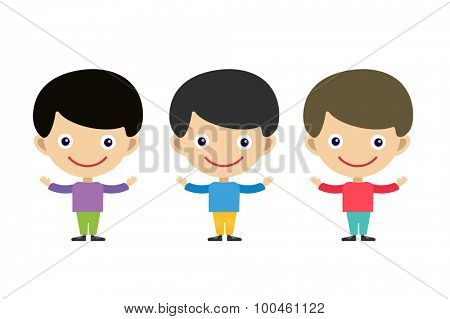 Vector cute cartoon boys brothers. Kids boy isolated. Small kids, schildren clothes. Kids posing. Kids background. Children vector people. Vector kids, teens, smile face, kids people silhouette
