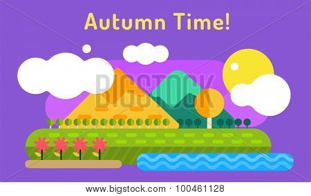Autumn vector background. Autumn cartoon style background. Yellow autumn colors. Autumn landscape illustration. Autumn leaves, trees, mountains. Outdoor Autumn
