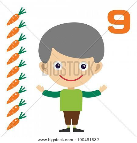 Vector cartoon boy learning game card. Education math cards with fruits and vegetables. Kids boy help to kids learning numbers. Kids school materials. Easy count game