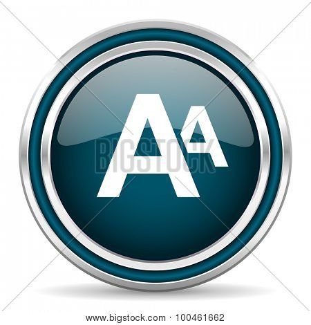alphabet blue glossy web icon with double chrome border on white background with shadow