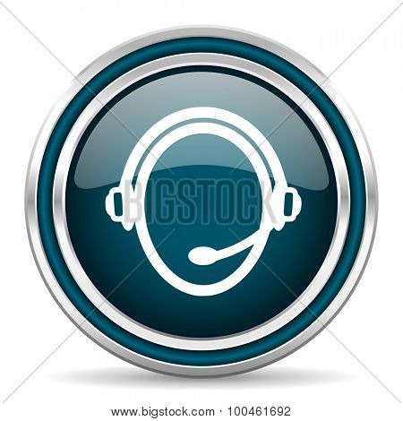 customer service blue glossy web icon with double chrome border on white background with shadow