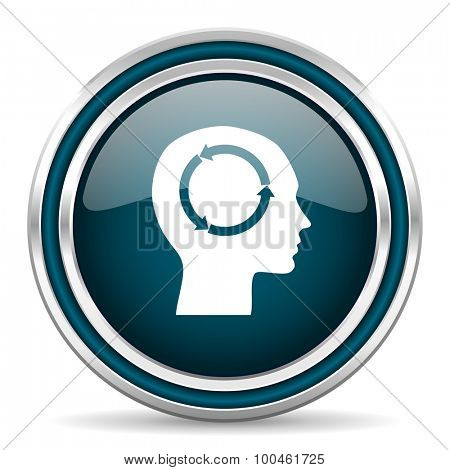head blue glossy web icon with double chrome border on white background with shadow