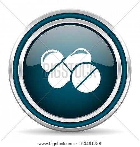 medicine blue glossy web icon with double chrome border on white background with shadow