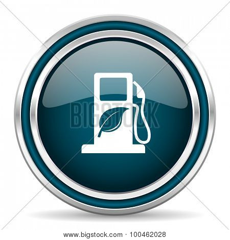 biofuel blue glossy web icon with double chrome border on white background with shadow