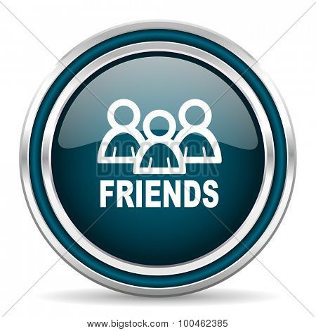 friends blue glossy web icon with double chrome border on white background with shadow