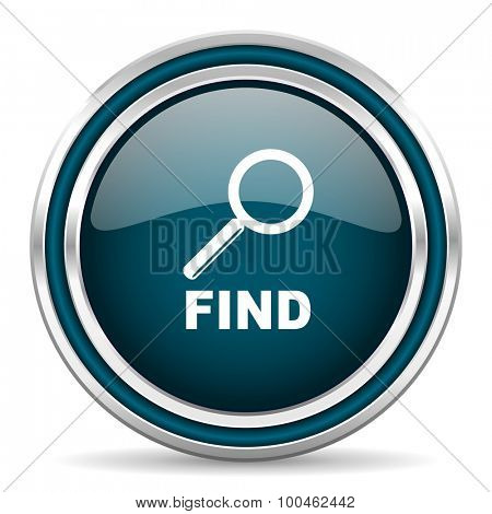 find blue glossy web icon with double chrome border on white background with shadow