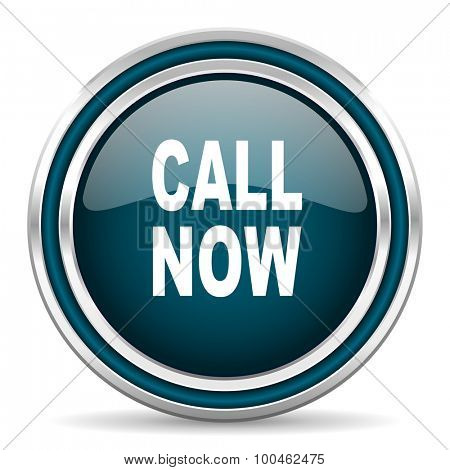 call now blue glossy web icon with double chrome border on white background with shadow