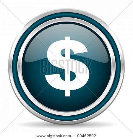 dollar blue glossy web icon with double chrome border on white background with shadow