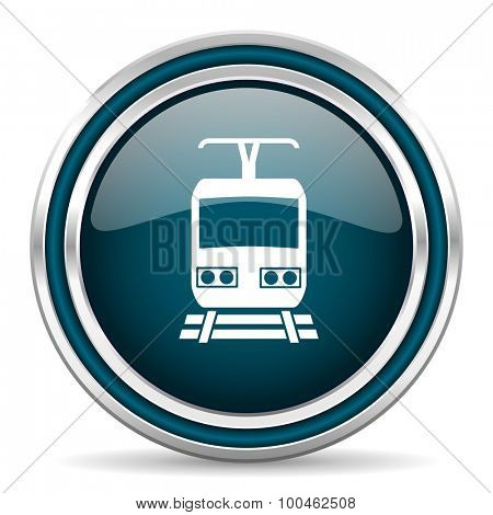 train blue glossy web icon with double chrome border on white background with shadow