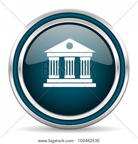 museum blue glossy web icon with double chrome border on white background with shadow