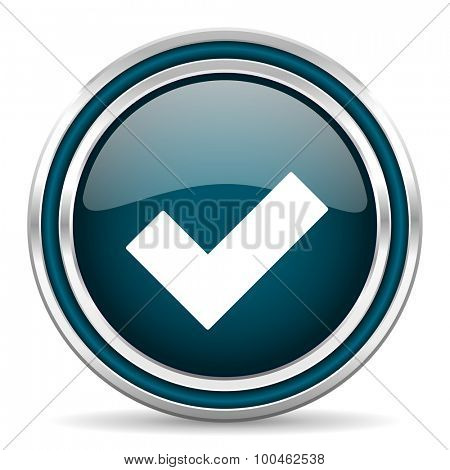 accept blue glossy web icon with double chrome border on white background with shadow