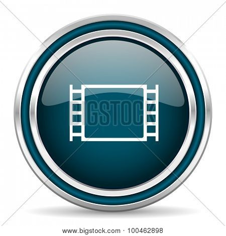 movie blue glossy web icon with double chrome border on white background with shadow