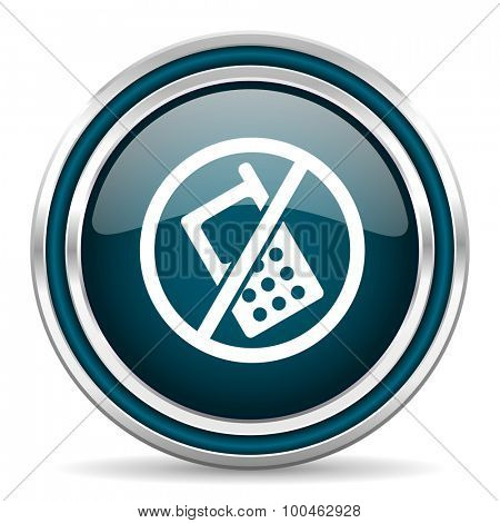 no phone blue glossy web icon with double chrome border on white background with shadow