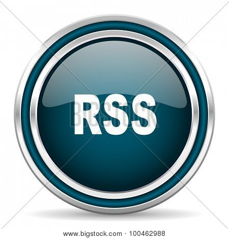 rss blue glossy web icon with double chrome border on white background with shadow