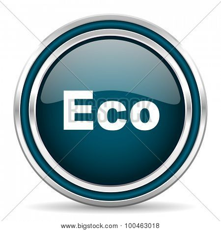 eco blue glossy web icon with double chrome border on white background with shadow