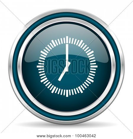 time blue glossy web icon with double chrome border on white background with shadow