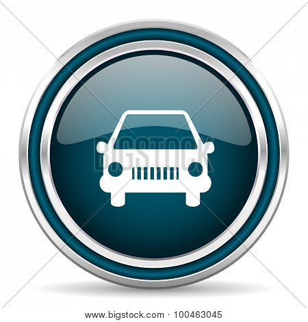 car blue glossy web icon with double chrome border on white background with shadow