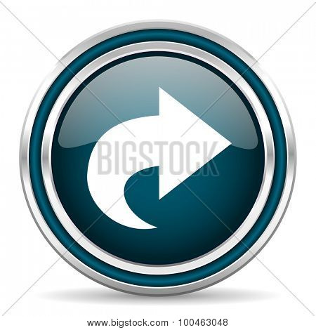 next blue glossy web icon with double chrome border on white background with shadow