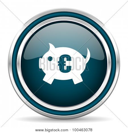 piggy bank blue glossy web icon with double chrome border on white background with shadow