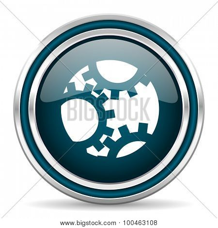 gear blue glossy web icon with double chrome border on white background with shadow