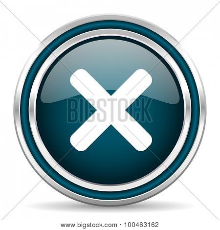cancel blue glossy web icon with double chrome border on white background with shadow