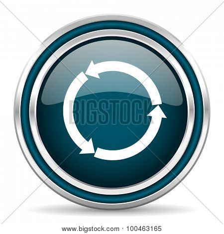 refresh blue glossy web icon with double chrome border on white background with shadow