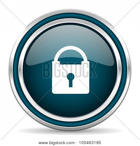 padlock blue glossy web icon with double chrome border on white background with shadow